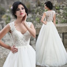 2015 New Fashionable Ivory Cap Sleeve Lace Bridal Dresses Sexy Wedding Gowns Tulle Vestido De Noiva Princesa 2015 A Line W3927