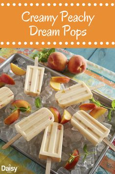 Few things beat the heat like a frozen treat. These Creamy Peachy Dream Pops will keep you cool all summer long. Few things beat the heat like a frozen treat. These Creamy Peachy Dream Pops will keep you cool all summer long. Ice Cream Treats, Ice Cream Desserts, Frozen Desserts, Ice Cream Recipes, Frozen Treats, Mousse, Delicious Desserts, Yummy Food, Popsicle Recipes