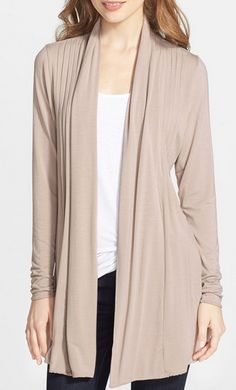 Open front pleated cardigan. My favorite style. I want one in every color!