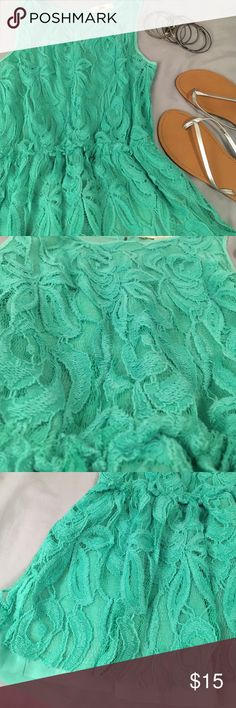 Preparty sale!  Green peplum lace tank A great tank for summer! Lightly worn and in good condition. Tops Tank Tops