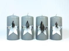 ★ 4 Kerzen m. silbernen Sternen f. Adventskranz ★ von Bastelsepp - Kerzen für jeden Anlass fertig kaufen oder mit unseren Bastelsets selber machen auf DaWanda.com #dawanda #adventskranz #christmasdecoration