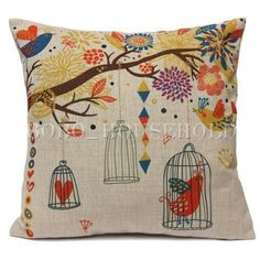Pretty Birds Cushion Cover Hot Sale Modern Painted Sofa Seat Cushion Covers Home Decor Throw Pillowcase Square Shape: SquareModel Number: Sofa Throw Pillows, Linen Pillows, Throw Pillow Cases, Decorative Throw Pillows, Cushions, Bed Sofa, Cushion Covers, Pillow Covers, Coton Vintage