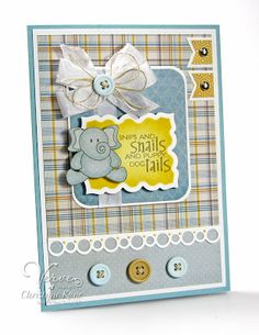 Baby card by Christyne Kane using To the Moon and Emery from Verve Stamps.  #vervestamps