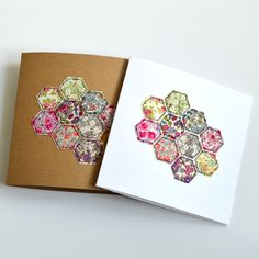 Patchwork embroidered greetings cards blank inside for your own message handmade by Stitch Galore