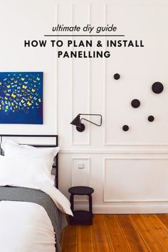 The Ultimate DIY Guide on How To Plan And Install Panelling. Step by step pictures & instructions with tips on how to achieve a gorgeous panelled room! Modern Wall Paneling, Panelling, Living Room Modern, Living Room Decor, Dining Room, Green And White Bedroom, Wainscoting Wall, Paneling Makeover, Accent Wall Bedroom