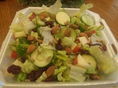 Salad: Romaine lettuce, Cucumbers, Celery, green pepper, banana peppers, apples, cranberries, almonds, and pumpkin seeds. Used Olive Garden Italian Dressing.
