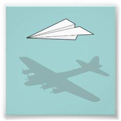 Imaginação Overactive do avião de papel Impressão De Foto