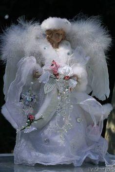 Shabby Cottage Chic Angel Centerpiece Tabletopper Christmas Decor White Pink | eBay
