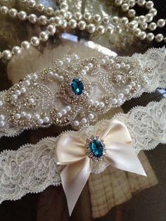 cc26f0dc9 Ivory wedding garter set with turquoise rhinestones