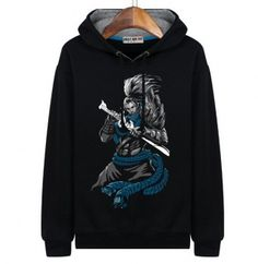 Yasuo hoodie for teens League of Legends black sweatshirt hand drawn style