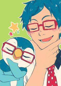 Rei and Piplup Rei! Fandom Crossover, Anime Crossover, Butterfly Swimming, Rei Free, Pokemon Rpg, Free Eternal Summer, Splash Free, I Still Love Him, Free Iwatobi Swim Club