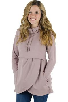 Looking for a tunic length nursing hoodie, this is it!! Our petal front nursing hoodie, is soft, comfortable, and warm. This nursing hoodie will pair great with leggings and jeans, and offers a more relaxed fit around the waist and hips. Not only is the length on this breastfeeding hoodie amazing, it also offers pockets! This nursing hoodie offers our front feeding access, which is great for single and tandem nursing/pumping. If you are looking for a heavier sweatshirt with more of a &...