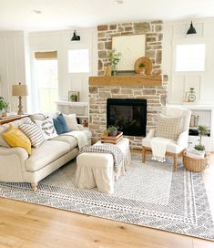Finding the right sofa & rug made our 1890 farmhouse feel so cozy! Fireplace Seating, Fireplace Furniture, Cozy Fireplace, Fireplace Surrounds, Fireplace Mantles, Living Room Seating, Living Room Tv, Living Room With Fireplace, Living Room Chairs