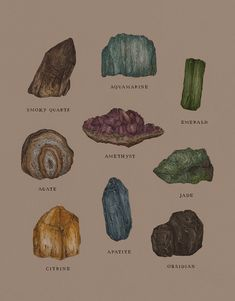 Photo Wall Collage, Picture Wall, Crystals And Gemstones, Stones And Crystals, Crystal Aesthetic, Drawn Art, Frank Ocean, Witch Aesthetic, Book Of Shadows