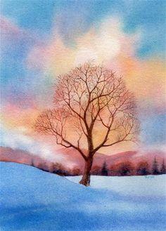 """SOLITARY watercolor landscape painting"" - Original Fine Art for Sale - © Barbara Fox"