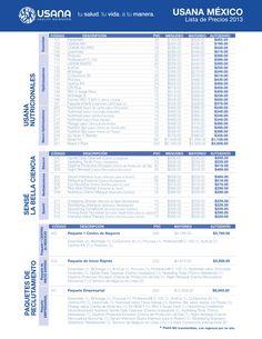 Lista de Precios 2013 USANA MEXICO - Mas información en www.mex.usana.com