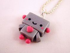 Robot Kawaii Polymer Clay Pendant Necklace.