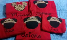 Family Set of 4 Personalized Mickey or Minnie Safari Shirt Perfect for Disney Vacations