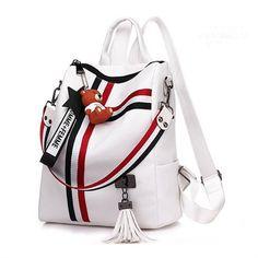 Cheap Price New Fashion Zipper Ladies Backpack Leather High Quality School Bag Shoulder Bag For Youth Bags Tassel Mochila De Senhora Reppu Retro Backpack, Backpack Purse, Fashion Backpack, Ladies Backpack, Travel Backpack, White Backpack, Satchel Bag, Striped Backpack, Travel Bags