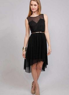LBD Hi-Low Metallic Belted Dress #homecoming #partydress