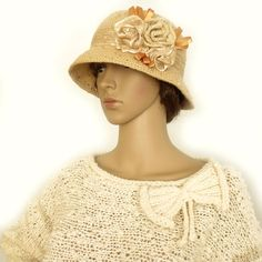 Crochet cloche hat 1920s cloche hat Romantic by allmadewithlove