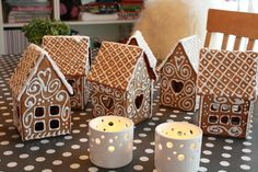 Ginger bread house inspiration. Cute idea to have many small houses instead of one big.