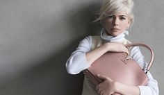 Michelle Williams with the Louis Vuitton Capucines Handbag in magnolia