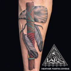 Tattoo by Lark Tattoo artist Heather Martin-Owens See more of Heather's work: http://www.larktattoo.com/long-island-team-homepage/heather/ #tomahawk #tomahawktattoo #colortattoo #colortattoos #neotraditional #neotraditionaltattoo #neotraditionaltattoos #neotraditionaltattooer #neotraditionaltattooers #feather #feathertattoo #femaletattooer #femaletattooist #tattoo #tattoos #tat #tats #tatts #tatted #tattedup #tattoist #tattooed #inked #inkedup #ink #tattoooftheday #amazingink #larktattoo