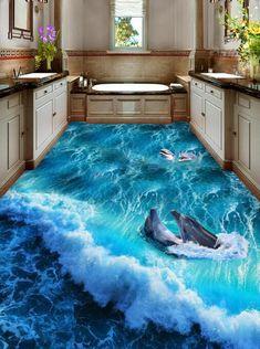 Wave And Dolphins Floor Mural Dolphin Bedroom, Ocean Bedroom, Floor Murals, 3d Wall Murals, Concrete Floors In House, Blue Granite Countertops, Floor Design, House Design, Ocean Themed Rooms