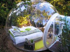 It's one of the more unusual structures I've seen. At 13 feet wide and 10 feet high, it looks like it could burst in front of you. This bubble room is actually part of a hotel, a family of bubble rooms belonging to The Attrap' Reves in Allauch, Montagnac- Monpezat, Puget Ville and at La Bouilladisse, all in France.