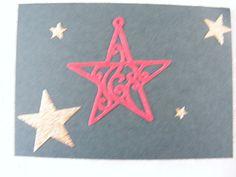 voorkant dubbele groene kaart met stans(rode ster) en stickers