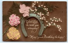 *Good Luck Happy Birthday Horse Shoe Horseshoe Flowers Carnations Postcard in Topics (Themes) > Greetings From