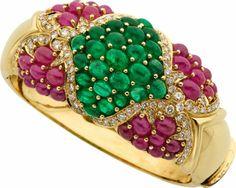Diamond, Ruby, Emerald, Gold Bracelet, Gioviane