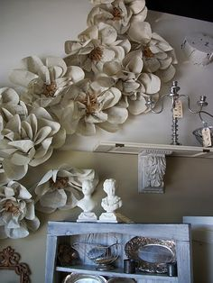 giant book page flowers...I think they look like magnolias