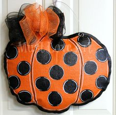 Fall Autumn Pumpkin Burlap Door Hanger by MustLoveArtStudio, $35.00
