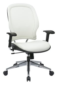 SPACE Seating Vinyl Managers Chair with Chrome Finish Metal Base and Height Adjustable Arms, White