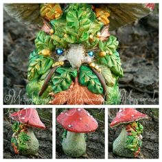 "Handsculpted, OOAK, polymer clay Greenman Mushroom.    *Sculpted by Megan Johnson of ""The Midsummer's Night Masquerade""   -On Facebook and Etsy."
