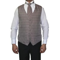 @Overstock - Classic and refined, this handsome four-piece vest set from Ferrecci offers a fashionable look. A five-button vest, bow tie, hankerchief and necktie complete this set.http://www.overstock.com/Clothing-Shoes/Ferreci-Mens-Taupe-Four-piece-Vest/6589282/product.html?CID=214117 $27.99