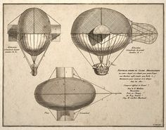 Steampunk Art Print French Airship Balloon Design by TigerHouseArt, $14.00