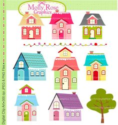 house Digital Clip Art , house, Personal and Small Commercial Use, Invitations, Card Making, Scrapbooking  M.40, INSTANT DOWNLOAD