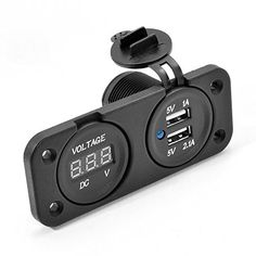 yet another home made lock n ride plug a t v u t v dual function 2 port usb charger power outlet digital voltmeter panel flush mount w wire set for car utv boat marine package includes