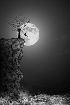 Like the idea of a child on swing silhouetted by the moon with the tree, but not cliff or ocean.
