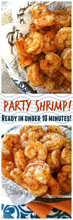 Party Shrimp! Super easy recipe with just a few ingredients that cooks up quick in the oven. Perfect for entertaining!