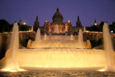 The magic fountains of Plaza de Espanya #Barcelona #fountains #MNAC #Plaza #Espanya