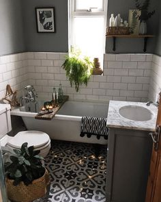 49 Affordable Green Bathroom Design Ideas Your bathroom is a great place to unleash all of your interior design ideas. Because a bathroom space is so […] Bathroom Renos, Bathroom Interior, Bathroom Plants, Bathroom Small, Kitchen Plants, Bathroom Staging, Bathroom Green, Family Bathroom, Moroccan Bathroom