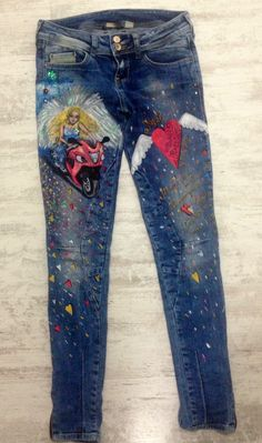 Mery-Jane / aNgel - maľovanie na rifle Angel, Stuff To Buy, Jeans, Art, Angels, Kunst, Gin, Denim Pants, Art Education