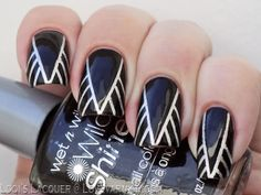 Black and silver tapemanicure from Love, Varnish, Chocolate and more