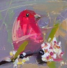 Rosefinch no. 30 original bird oil painting by Angela Moulton 6 x 6 inch on birch