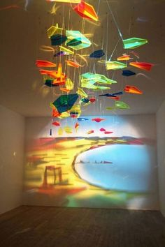 carefully placed objects, lit the right way, create a gorgeous shadow on the wall.    RASHAD ALAKBAROV  Fly to Baku, 2011  installation