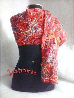 Echarpe vermelho colorido 1. www.isatramas.com.br